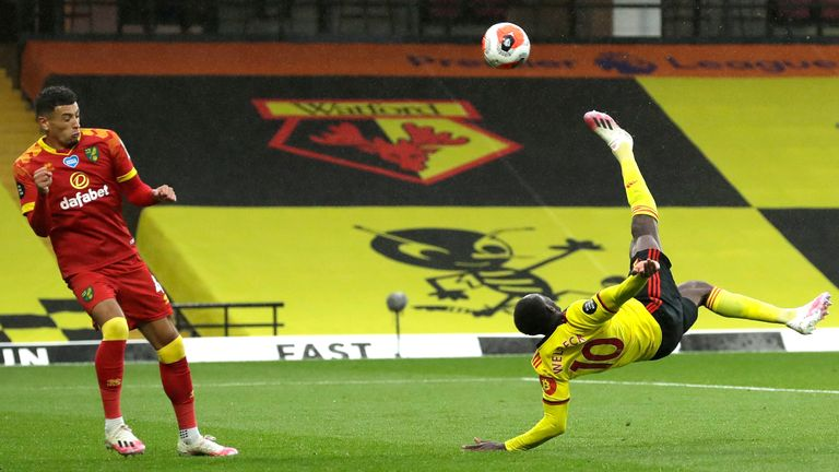 Danny Welbeck scores Watford's second goal against Norwich