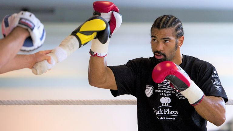 Haye mocked Klitschko's trademark jab at the media workout