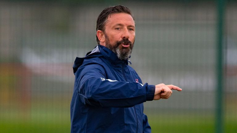 Aberdeen manager Derek McInnes issues instructions during training