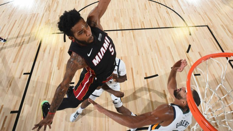 Derrick Jones Jr soars to the rim during the Heat's scrimmage loss to the Jazz