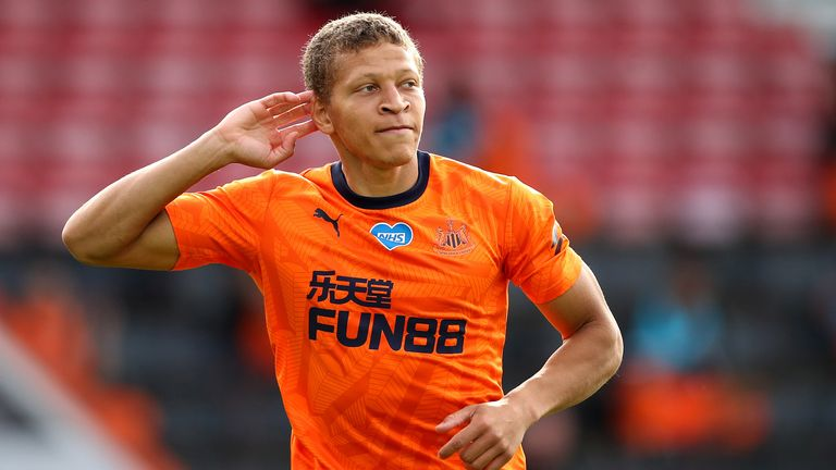 Dwight Gayle celebrates after opening the scoring at Bournemouth