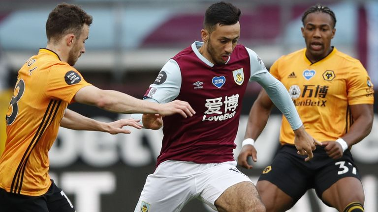 Dwight McNeil looks to get Burnley moving forward in the first half