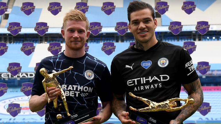 Kevin de Bruyne and Ederson pick up their Playmaker and Golden Glove Awards