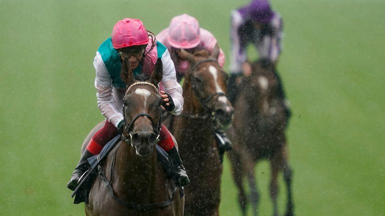 ASCOT, ENGLAND - JULY 25: Frankie Dettori riding Enable (pink cap) win The King George VI And Queen Elizabeth Qipco Stakes at Ascot Racecourse on July 25, 2020 in Ascot, England.