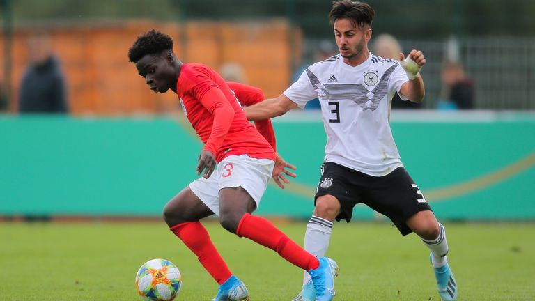 Saka (L) has represented England from U16-U19 level