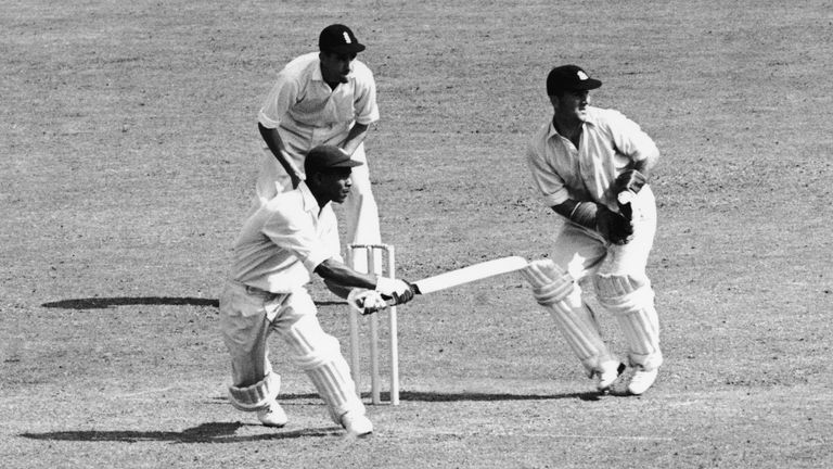 Weekes batting for the West Indies during the third Test against England at Trent Bridge in Nottingham, in July 1950.