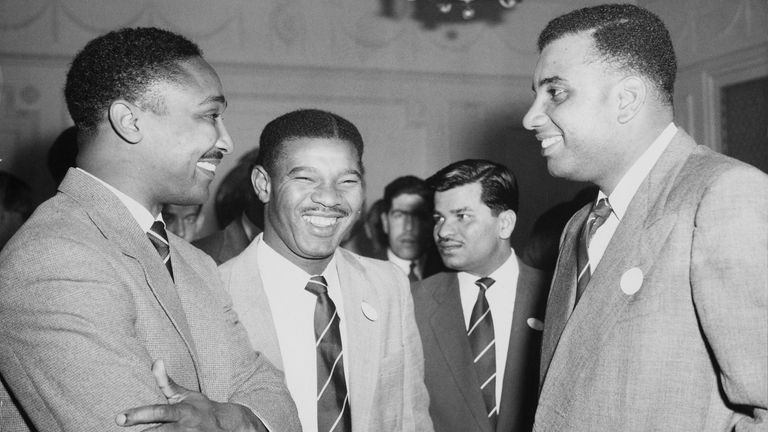 The 'Three Ws' - Worrell, Weekes and Walcott - at the West Indian Club, London, in April 1957