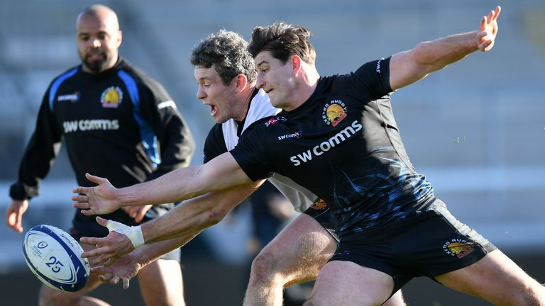 Ian Whitten and Tom Hendrickson of Exeter Chiefs battle for the ball during a training session back in January