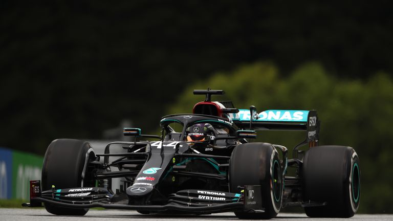 Lewis Hamilton drove his Mercedes with its new black livery for the first time during practice for the Austrian Grand Prix.