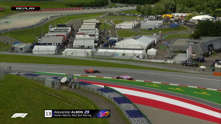 Red Bull's Alex Albon spun during second practice ahead of this weekend's opening Formula One Grand Prix in Austria.