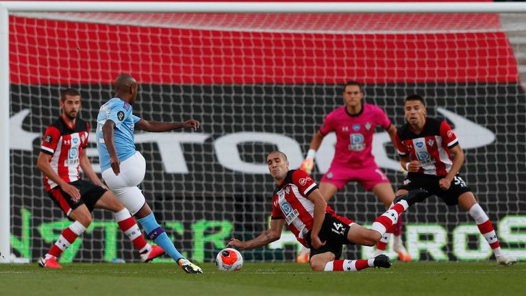 Fernandinho goes close as he hits the post in the opening period