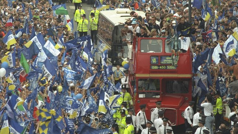 Chelsea parade the FA Cup in 1997. Newton scored in the 2-0 win over Middlebrough.