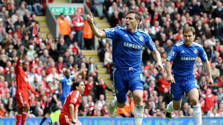 Frank Lampard scores for Chelsea at Anfield in May 2010