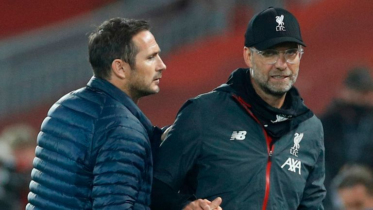 Frank Lampard shakes hands with Jurgen Klopp at the final whistle at Anfield