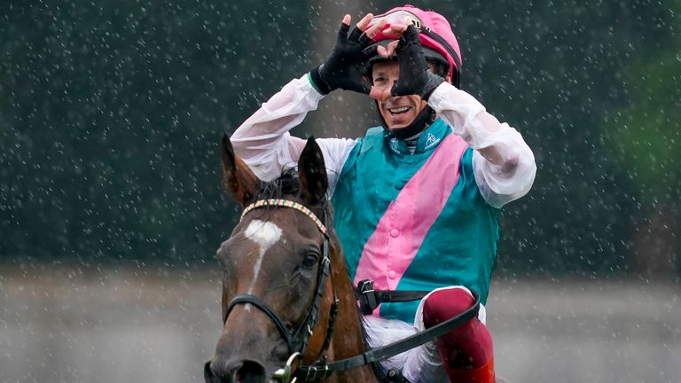 Frankie Dettori after riding Enable to win The King George VI And Queen Elizabeth Qipco Stakes at Ascot Racecourse on July 25, 2020 in Ascot, England. Owners are allowed to attend if they have a runner at the meeting otherwise racing remains behind closed doors to the public due to the Coronavirus pandemic.