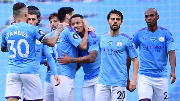 Gabriel Jesus celebrates scoring Manchester City's second goal against Bournemouth