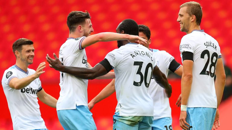 West Ham celebrate after Michail Antonio puts them ahead at Manchester United