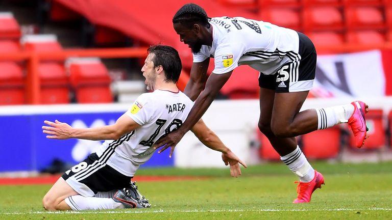 Harry Arter celebrates after scoring for Fulham against Nottingham Forest