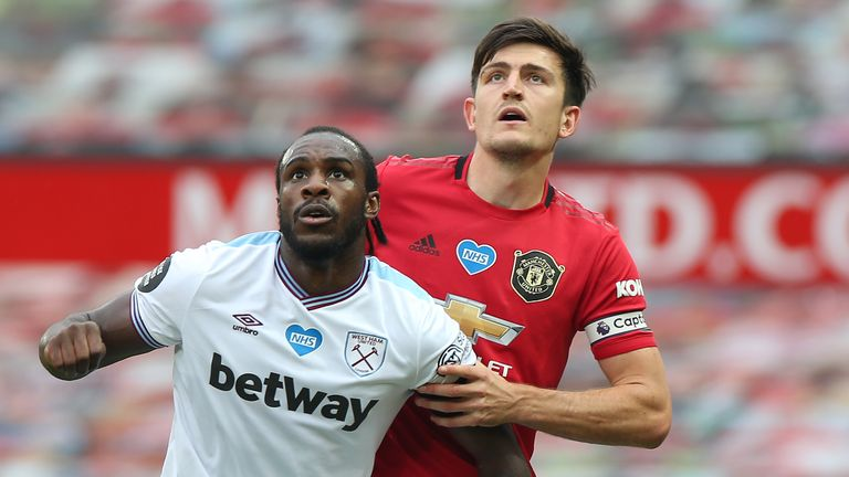 Maguire marks Antonio during the 1-1 draw at Old Trafford on Wednesday