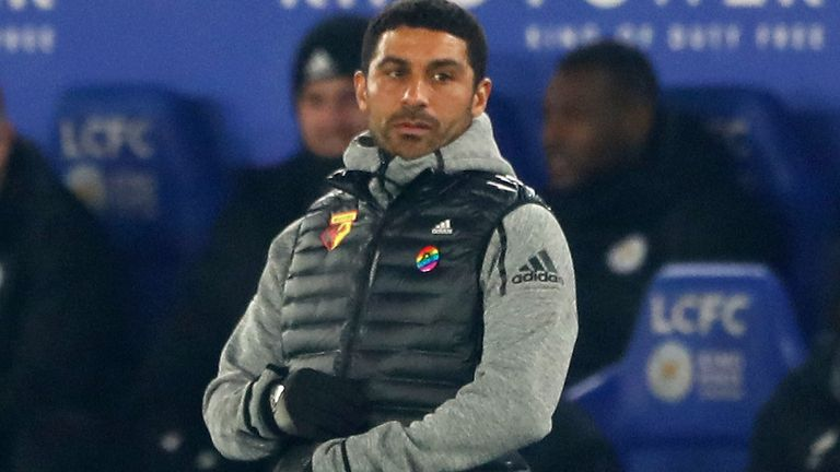 Hayden Mullins, Interim Manager and U23 Coach of Watford looks on during the Premier League match between Leicester City and Watford FC at The King Power Stadium on December 04, 2019 in Leicester, United Kingdom.