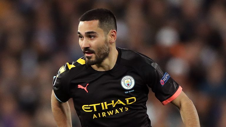 Ilkay Gundogan in action for Manchester City in the first leg of their Champions League, round of 16 match away to Real Madrid