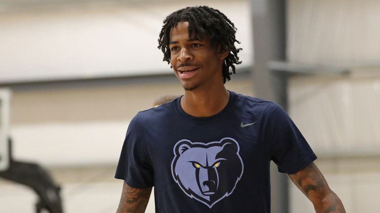 Ja Morant of the Memphis Grizzlies looks on during practice as part of the NBA Restart