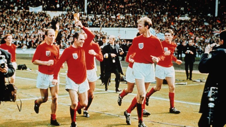 Charlton celebrates winning the World Cup with England in 1966