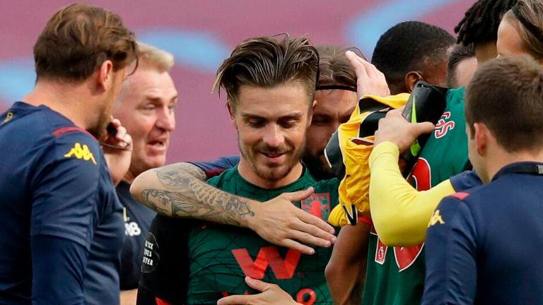 Jack Grealish celebrates Aston Villa's survival