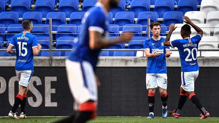 Jamie Barjonas celebrates his goal for Rangers vs Nice