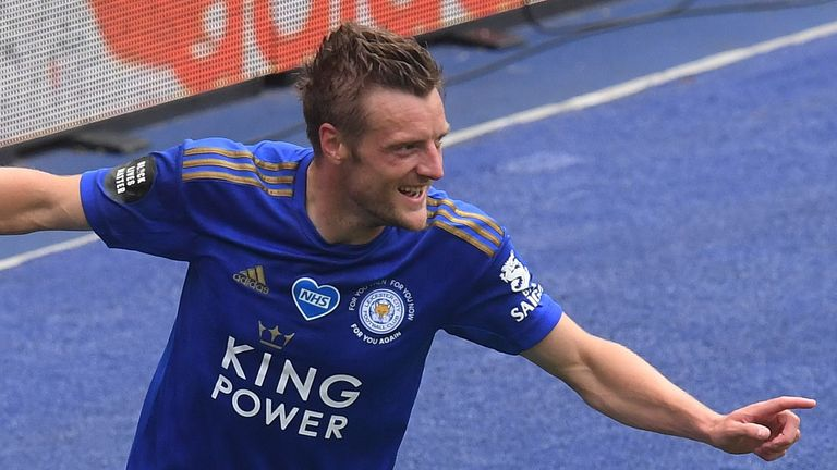 Jamie Vardy netted his 100th Premier League goal