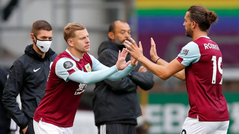 Burnley striker Jay Rodriguez was forced off early in the second period