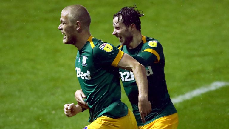 Jayden Stockley (left) celebrates with Preston North End team-mate Alan Browne after scoring against Sheffield Wednesday