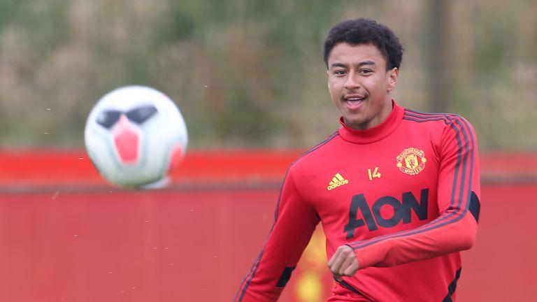 Jesse Lingard at Manchester United training session