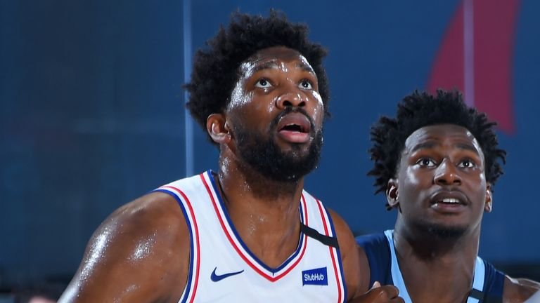 Joel Embiid in action for the Philadelphia 76ers in their opening scrimmage game in Orlando