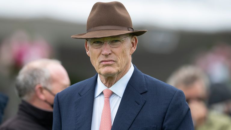 EPSOM, ENGLAND - JULY 04: John Gosden looks on at Epsom Racecourse on July 04, 2020 in Epsom, England. The famous race meeting will be held behind closed doors for the first time due to the coronavirus pandemic.(Photo by Edward Whitaker/Pool via Getty Images)