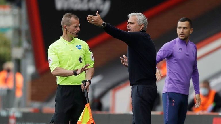 Jose Mourinho is left bemused by the decision not to award his side a penalty in the early stages at Bournemouth