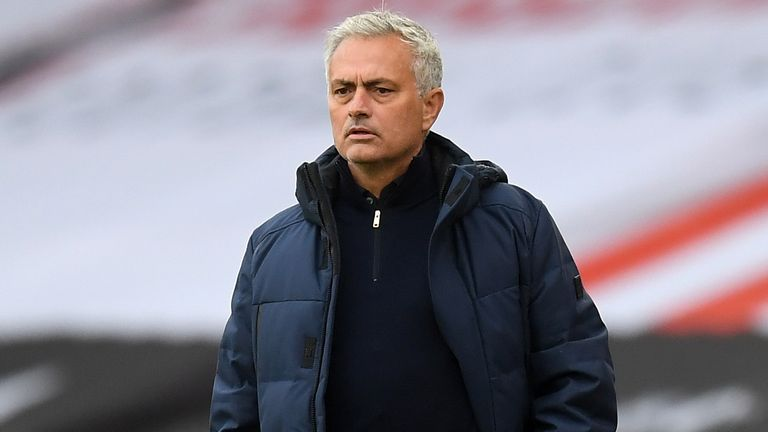 Tottenham Hotspur head coach Jose Mourinho looks on from the sidelines during the game against Sheffield United