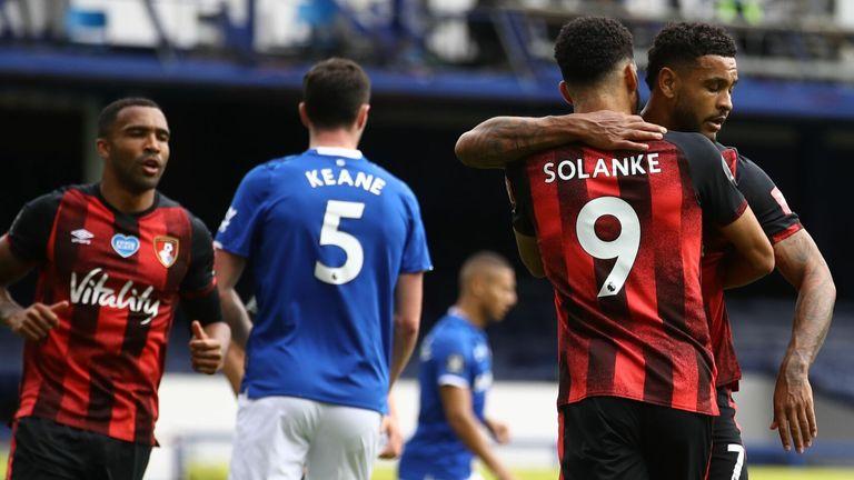 Joshua King celebrates his goal for Bournemouth