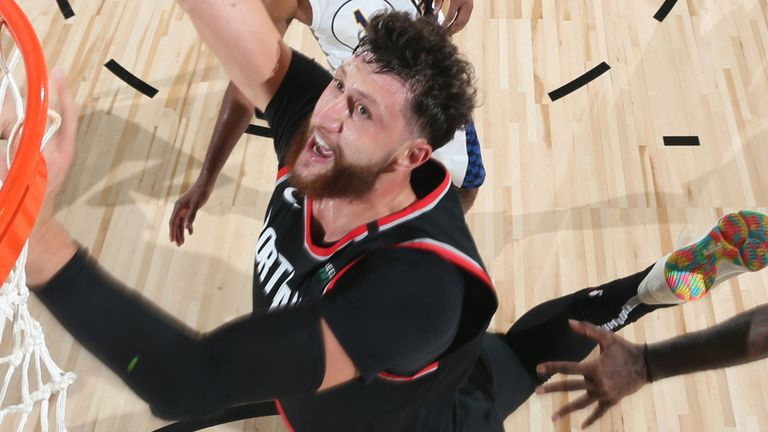 Jusuf Nurkic scores with a lay-up in Portland's scrimmage against the Indiana Pacers