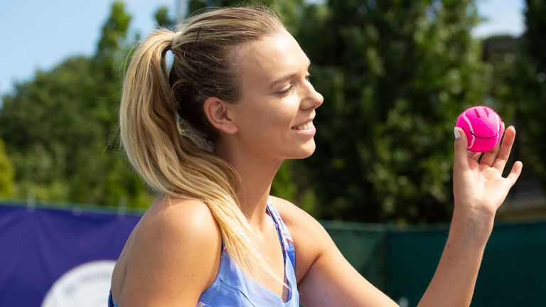 Katie Boulter takes part in the LTA's Mark Your Ball initiative