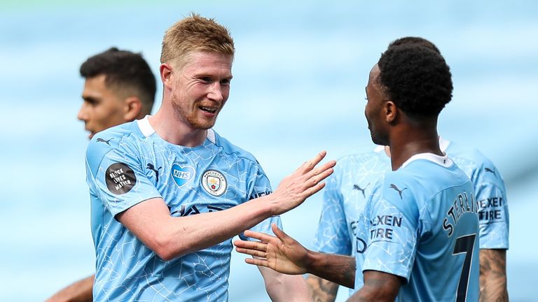 Kevin De Bruyne celebrates with Raheem Sterling after doubling Man City's lead