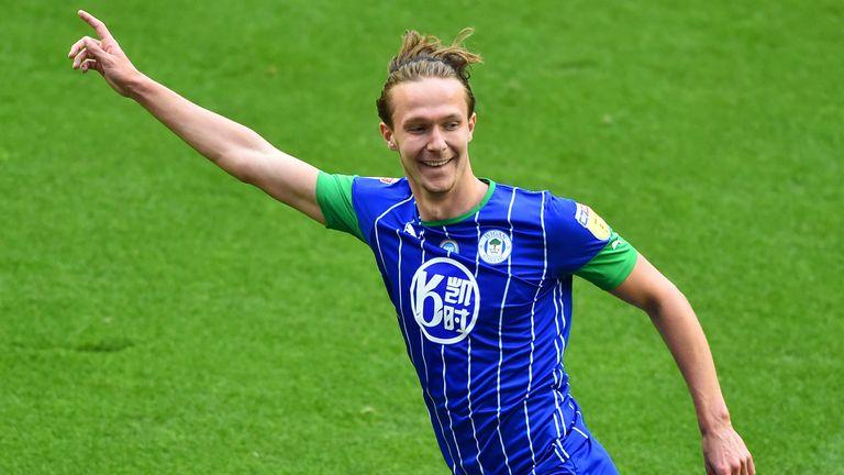 Kieran Dowell celebrates scoring for Wigan vs Hull