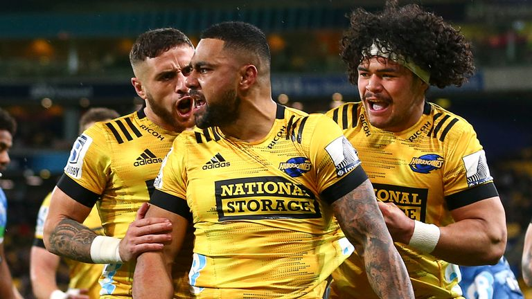Ngani Laumape was in sensational form as the Hurricanes beat the Blues in a try-fest