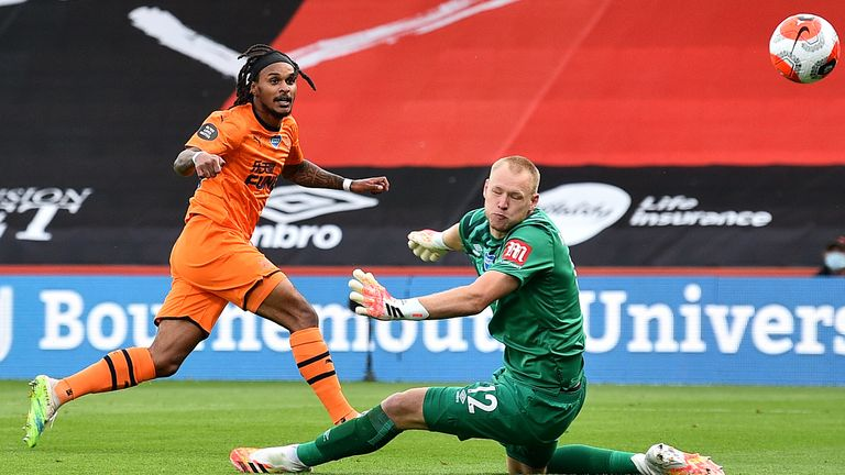 Valentino Lazaro of Newcastle United scores his team's fourth goal past Aaron Ramsdale of AFC Bournemouth during the Premier League match between AFC Bournemouth and Newcastle United at Vitality Stadium on July 01, 2020 in Bournemouth, England.
