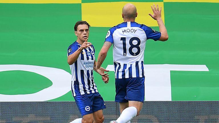 Leandro Trossard celebrates Brighton's goal against Norwich