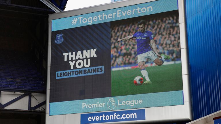 Leighton Baines said goodbye to professional football on Sunday at Goodison