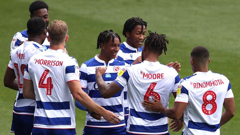 Liam Moore celebrates scoring Reading's first goal against Middlesbrough