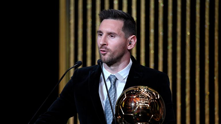 Lionel Messi accepts the Ballon d'Or award in 2019