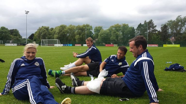 Fallon during her pro license course with Manchester United legends Teddy Sheringham and Ronny Johnsen
