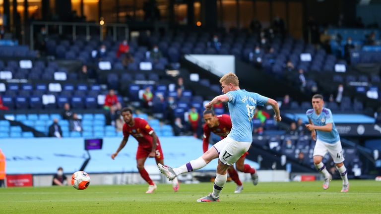 Kevin De Bruyne opens the scoring from the penalty spot for Manchester City against Liverpool